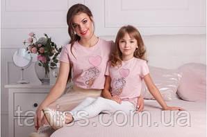 """Комплект мама и дочка , футболки с вышивкой, белые, к-кт """"Зайка"""" размеры в описании"""