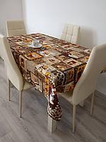 Скатерть льняная на кухонный стол/Скатерть с кофейными чашками/Скатерть 120*150