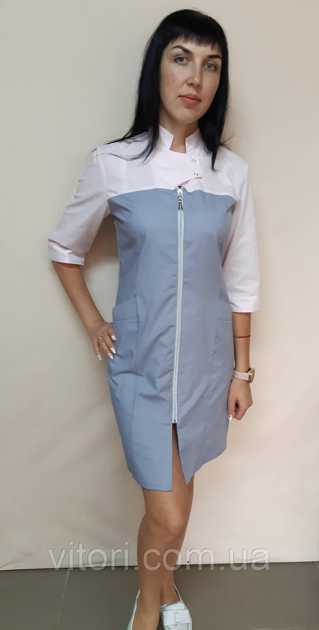 Жіночий медичний халат Герда на блискавці три чверті рукав