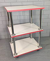 Тележка косметологическая №1 Белая с красной кромкой (этажерка) Парикмахерский стол на колесиках