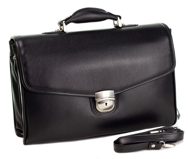 Мужской портфель Eminsa 7031-12-1 мягкий кожаный черный