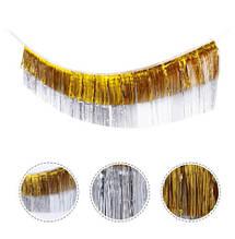Гірлянда дощик золото + срібло - висота 35см, ширина 175см, фольга