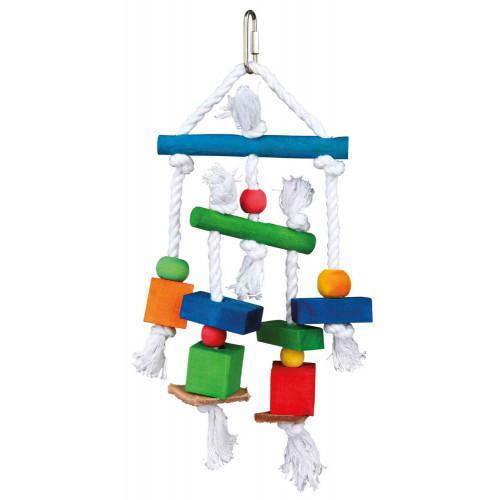 Игрушка для птиц с веревкой и кожей 24см, Trixie TX-58985