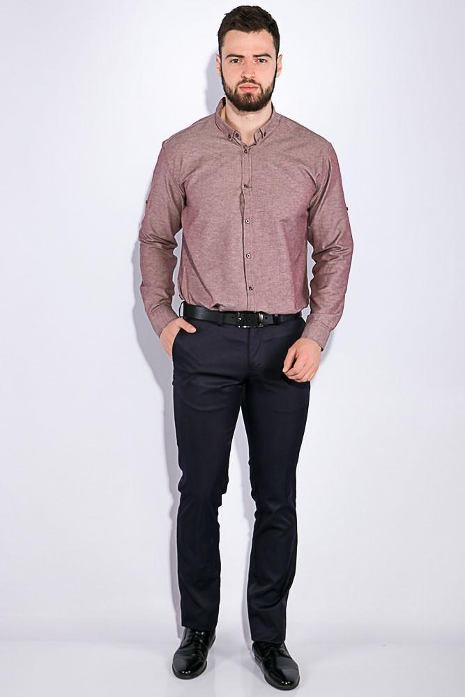 Рубашка мужская, однотонная 511F011-1 (Каштановый)