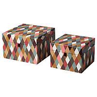 Коробка з кришкою, 2 шт, різнокольоровий діамантовий малюнок, декорера IKEA 604.723.32