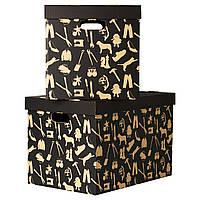 Коробка з кришкою, чорна, 56x37x36 см, håbol ikea 701.156.01