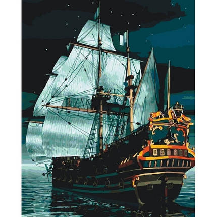"""Набір для розпису по номерах. Морський пейзаж """"Флагман вночі"""" 40*50см, фото 2"""