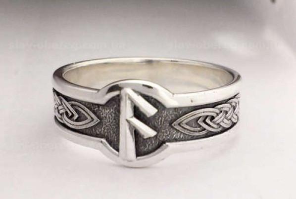 Кольцо Руна Ансуз из серебра 925 пробы, 19 размер