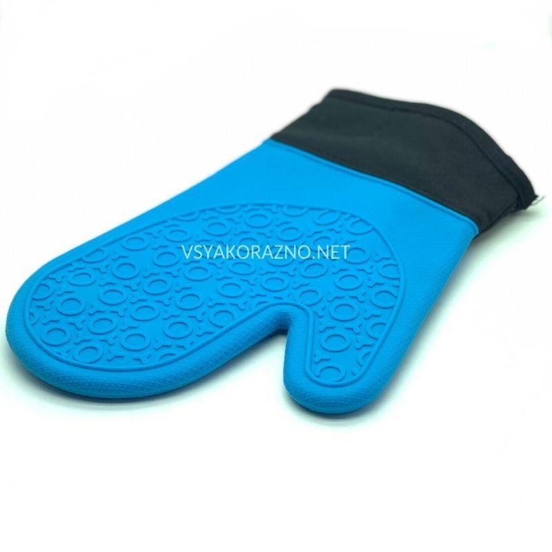 Рукавица-прихватка силиконовая с текстильным манжетом / Рукавиця-прихватка силіконова (синий)
