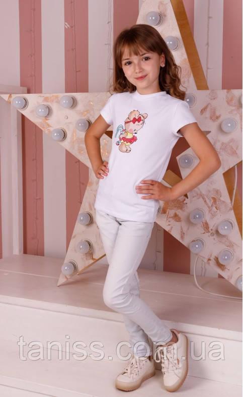 Футболка для дівчинки, бавовняний трикотаж, вишивка Мімі Ведмедик, зростання 110,116,122,128 біла