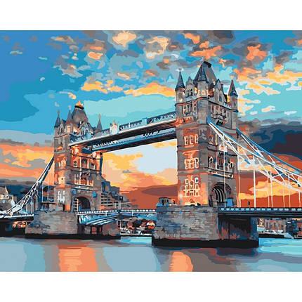 """Набір для розпису по номерах. Міський пейзаж """"Лондонський міст"""" 40*50см, фото 2"""
