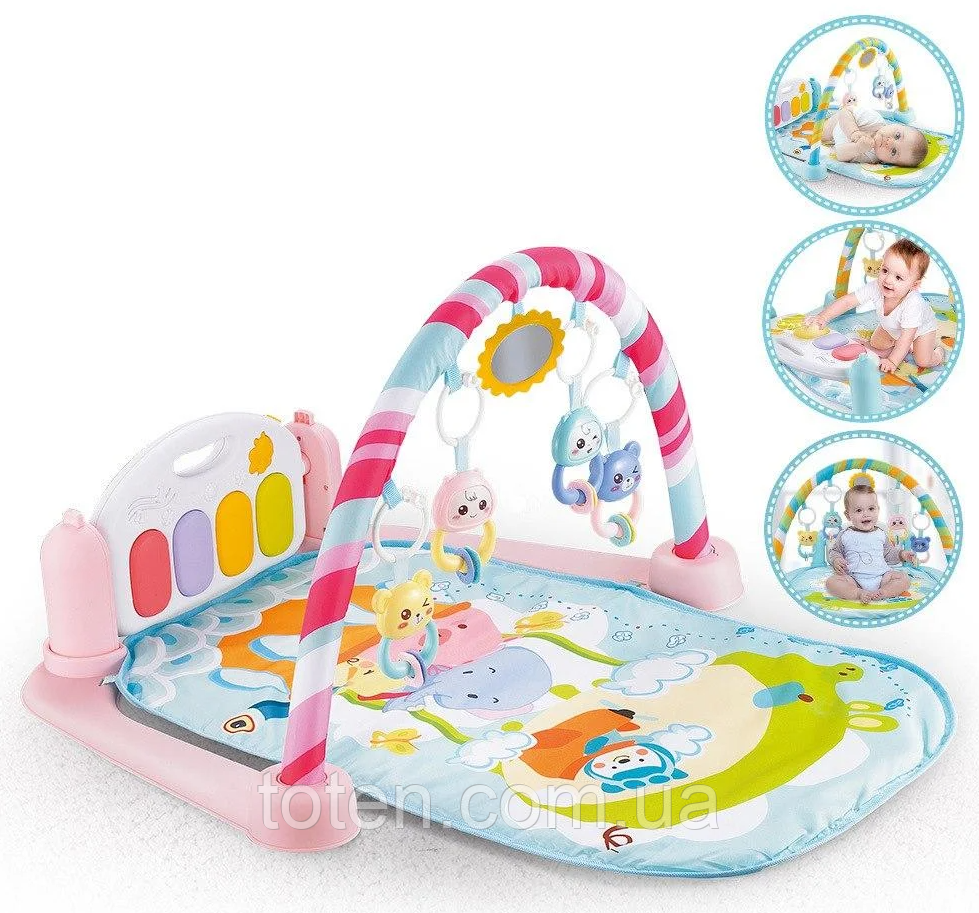 Розвиваючий килимок-піаніно для малюків арт. 9903, підсвічування. звуки, підвіски