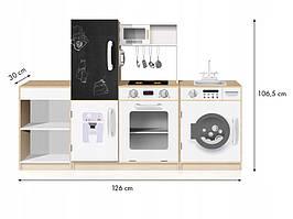 EcoToys Деревянная детская кухня XXL с доской и светодиодом PLK547