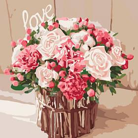 """Набір для розпису по номерах. Букети, натюрморти """"Троянди кохання"""" 40*40см"""
