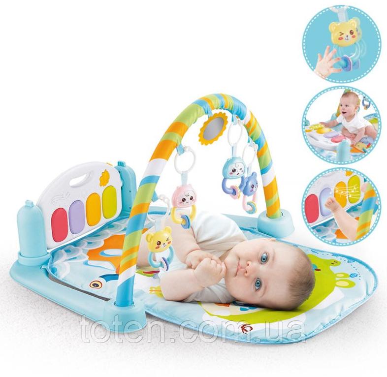 Развивающий коврик-пианино для малышей арт. 9903, подсветка. звуки, подвески. Голубой