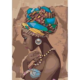 """Набір для розпису по номерах. Люди """"Перлина Африки"""" 35*50см"""