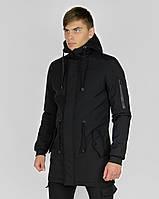 Куртка мужская Softshell весенняя осенняя демисезонная черная Ветровка мужская удлиненная Парка ЛЮКС качества