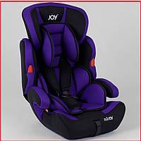 Детское автокресло JOY NB-9777 цвет черно-фиолетовый, универсальное от 9 до 36 кг, с бустером. Наклонное