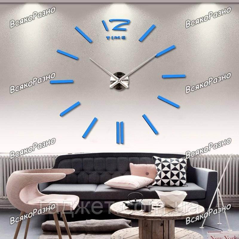 Акриловые зеркальные клеившиеся настенные часы / Роскошные зеркальные часы голубого цвета. Настенные часы