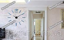 Акриловые зеркальные клеившиеся настенные часы / Роскошные зеркальные часы голубого цвета. Настенные часы, фото 2
