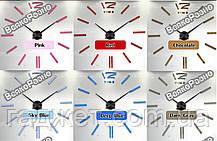 Акриловые зеркальные клеившиеся настенные часы / Роскошные зеркальные часы голубого цвета. Настенные часы, фото 3