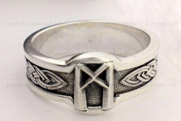 Кольцо Руна Манназ из серебра 925 пробы, 19 размер