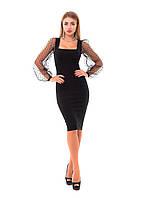 Бандажное платье миди с рукавами из органзы, фото 1