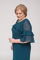 Нежное нарядное платье изумрудного цвета с воланами, фото 1