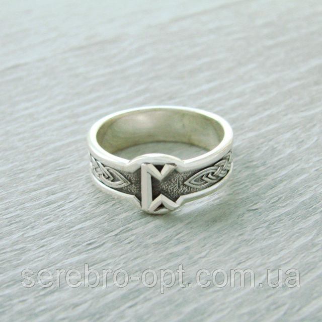 Кольцо Руна Перт из серебра 925 пробы, 19 размер