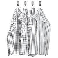 Чайна тканина, білий / темно-сірий / візерунок, 45x60 см, rinnig ikea 204.763.46