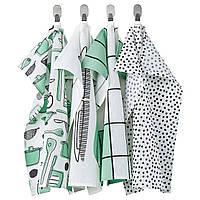 Чайна тканина, білий / зелений / візерунок, 45x60 см, rinnig ikea 604.763.54