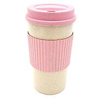 Стакан для напитков из пшеничной соломы Reef 350 мл Розовый