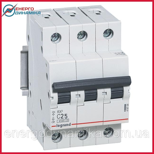 Автоматический выключатель Legrand RX3 25А 3п C 4.5кА