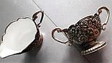 Посеребренные соусницы с внутренним керамическим покрытием, винтаж, Италия, фото 9