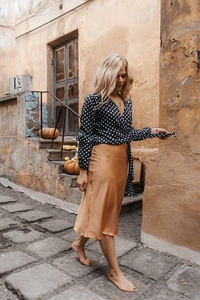 """Стильная шелковая юбка-миди """"Dalila"""" на резинке, фото 2"""