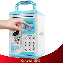 Детский сейф копилка Robot Bodyguard №.906 с отпечатком пальца, кодовым замком и купюроприемником Синий (R466), фото 3