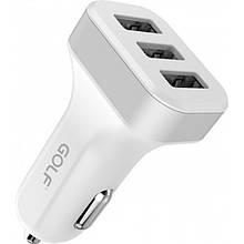 Автомобильное зарядное устройство (АЗУ) GOLF GF-C12 на 3 USB Белый (код: 47385 )