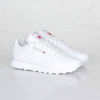 Кроссовки женские Reebok Classic Leather White (в стиле рибок) белые