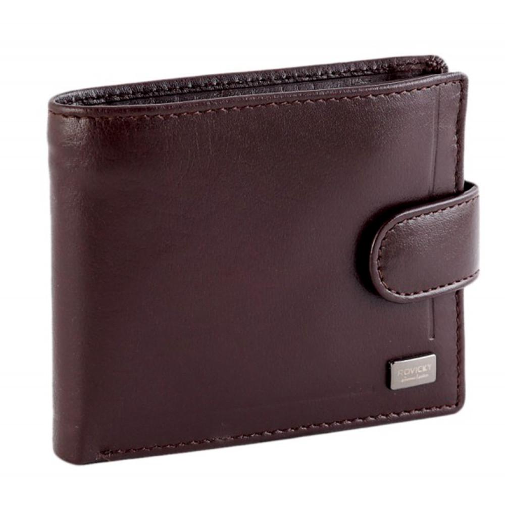 Мужское кожаное портмоне с евромонетницей коричневое Rovicky CPR-022 Brown