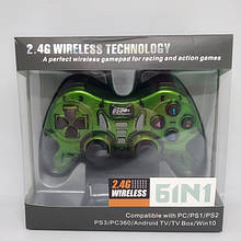 Беспроводной Джойстик 6 в 1 для ПК/PS2/PS3/PC360/ANDROID TV/WIN10 вибро ЗЕЛЁНЫЙ (код: 47288 )