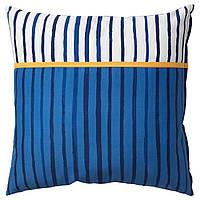 Подушка, смужки / блакитний оранжевий, 50x50 см, sånglärka ikea 004.270.12