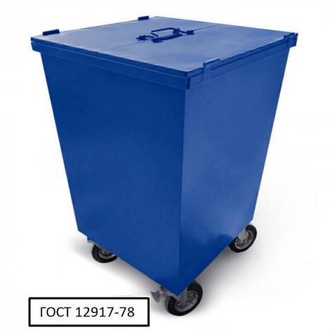 Бак металевий з кришкою та колесами V-750 л, синій, фото 2