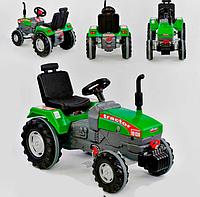 Трактор с педалями БОЛЬШОЙ 07-294 (1) цвет ЗЕЛЁНЫЙ, прорезиненные колеса, ругулируемое сидение, клаксон на