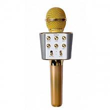 Беспроводной микрофон караоке блютуз WS-1688 Bluetooth динамик USB Золотой (код: 46670 )