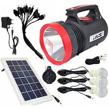 Фонарь ручной светодиодный Yajia YJ-1908T с солнечной панелью и USB Power Bank (код: 46743 )