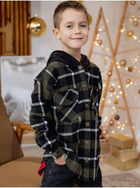 Теплая детская клетчатая рубашка с капюшоном