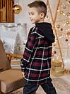 Теплая детская клетчатая рубашка с капюшоном, фото 4