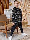 Теплая детская клетчатая рубашка с капюшоном, фото 2