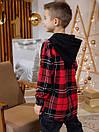 Теплая детская клетчатая рубашка с капюшоном, фото 6