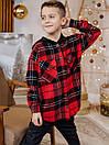 Теплая детская клетчатая рубашка с капюшоном, фото 5
